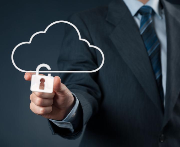 man with a cloud security logo