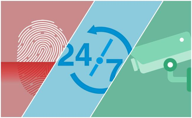 cloud security graphic. biometric security. 24/7 monitoring. video surveillance.